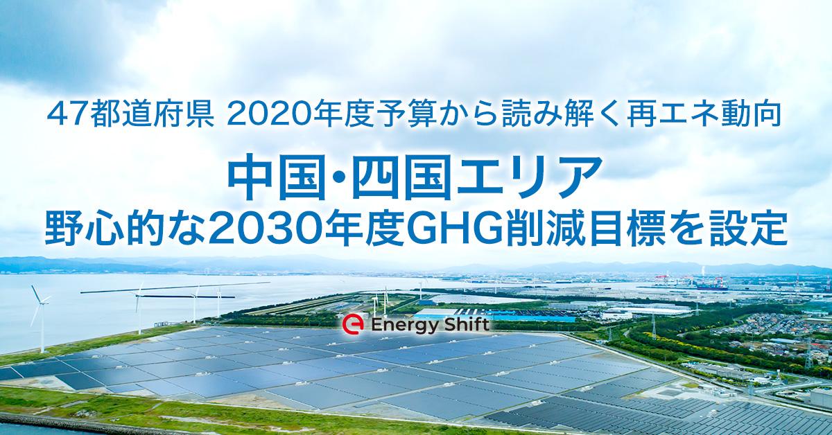 47都道府県の2020年度予算から読み解く再エネ動向 中国・四国エリア 野心的な2030年度GHG削減目標を設定