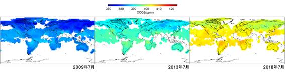 GOSATによる世界のCO2濃度分布観測結果